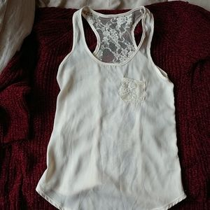 Silky lacey tank top